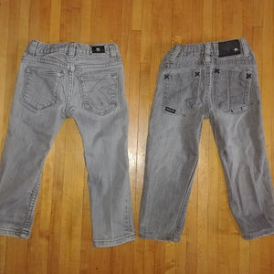 DC Shoes & Hurley grey skinny jeans punk skater 2t